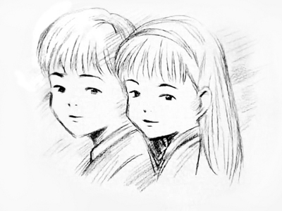 400x300 Pictures Boy And Girl Drawing Sketch,