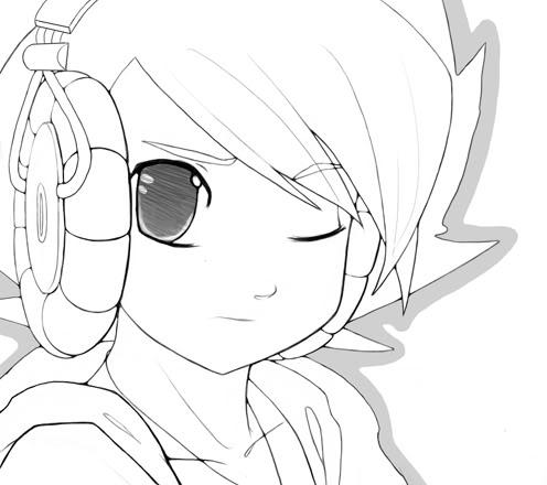 496x440 Drawn Anime Headphone