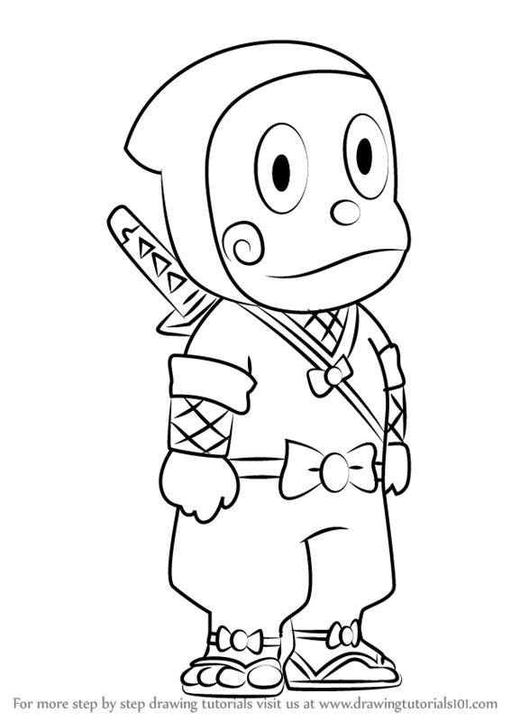 567x800 Learn How To Draw Ninja Hattori Kun From Ninja Hattori (Ninja