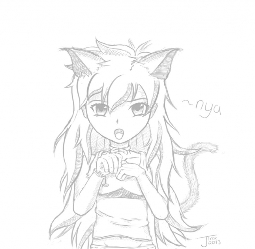 1024x998 Anime Cat Sketch Cat Girl Lineartjinxdrawings