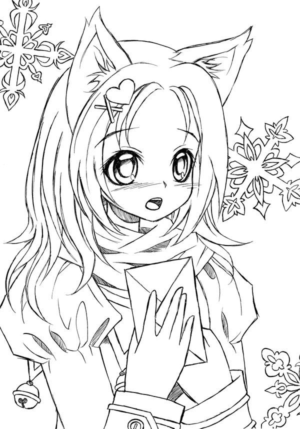 600x858 Anime Cat Girl Coloring Pages 12 Pics Of Anime Cat Girl Warrior