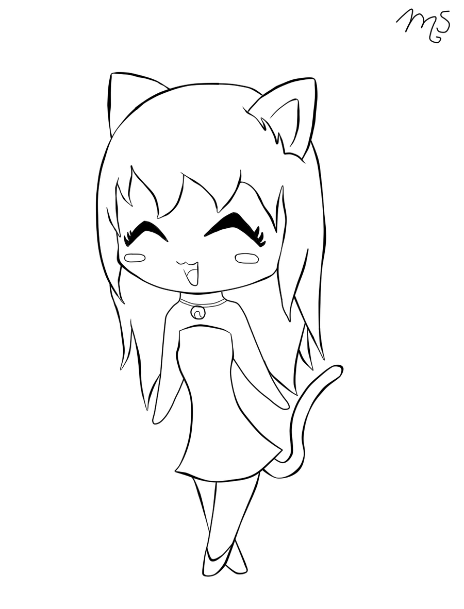 1800x2364 Chibi Neko Girl Lineart By Tawiie On @ Line Art