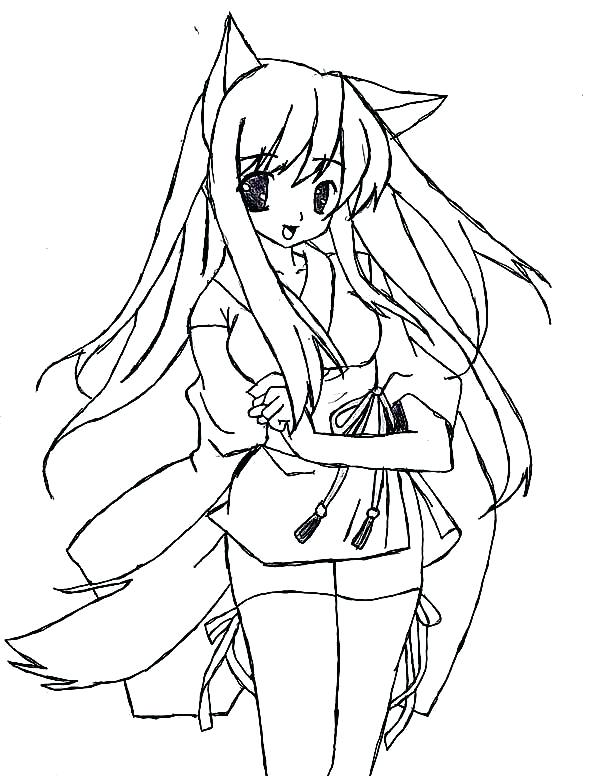 600x776 Anime Cat Coloring Pages Anime Cat Girl In Anime Coloring Page