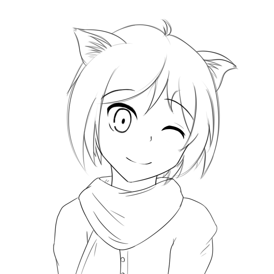 900x900 How To Draw A Anime Cat Person Drawn Anime Cat