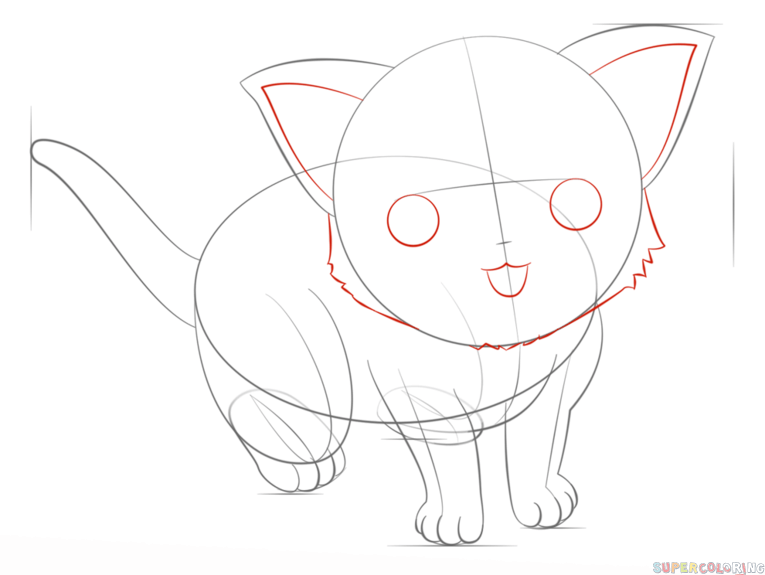 765x575 How Draw An Anime Cat Step By Step Drawing Tutorials How