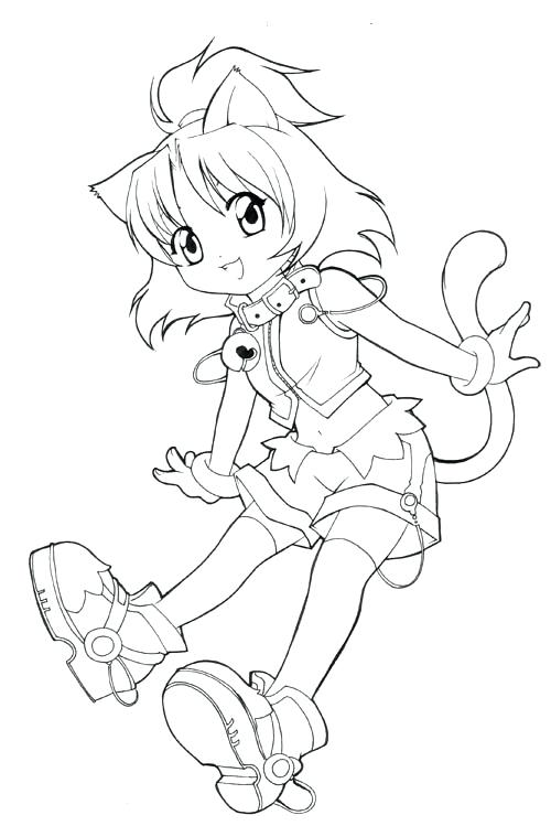 500x749 Anime Cat Coloring Pages Coloring Books Cat Girl Anime Coloring
