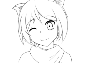 300x210 Anime Cat Girl Drawing