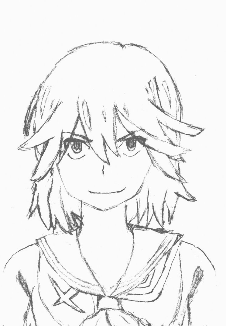 744x1072 First Line Drawing Of Anime Character Ryuko Matoi By Clicktotalk