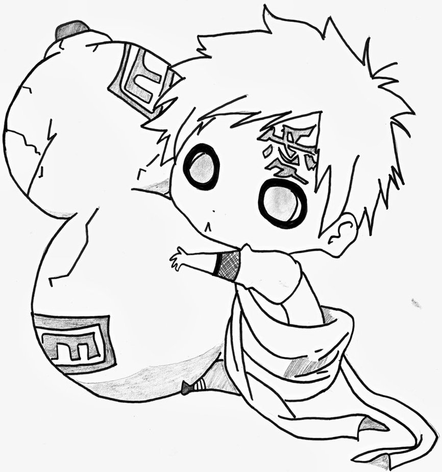 866x923 Drawing Anime Naruto Chibi Chibi Gaara By Wa Luigi