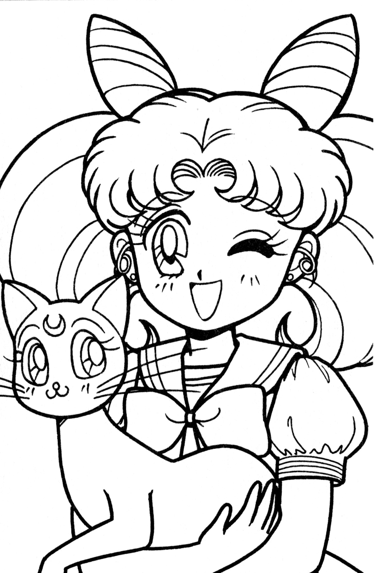 1200x1837 Anime Chibi Coloring Pages For Girls Sailor Moon In Fancy Draw