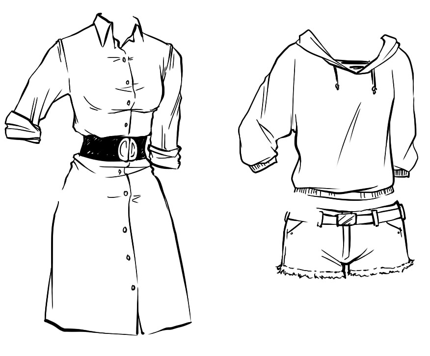 It is an image of Sly Drawing Clothes Tutorial