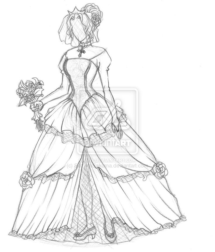Anime Drawingfull Dress Simple Pencil