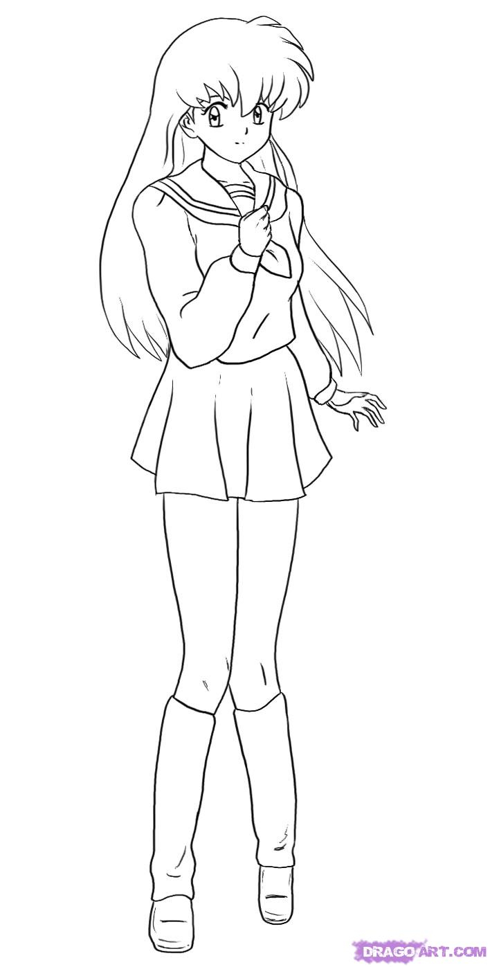 708x1397 Anime Girl Full Body Drawing With Clothes Drawn Anime Full Body