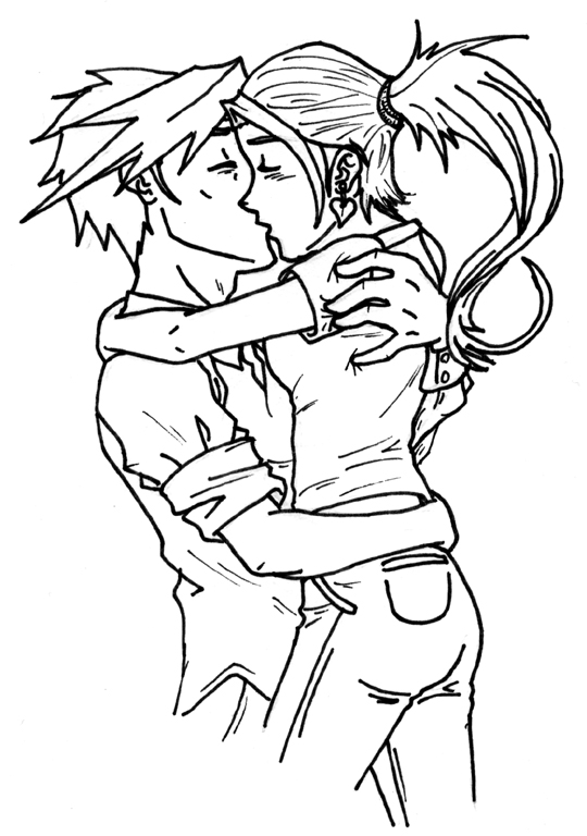 Anime Couple Hugging Drawing