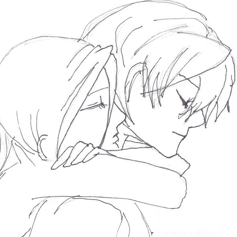 800x800 Anime Couples Hugging Drawing