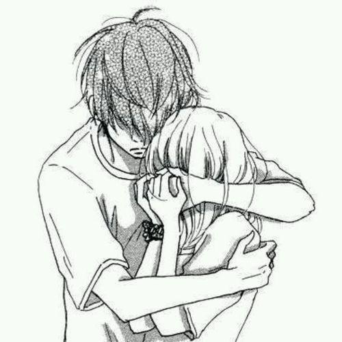 500x500 Sad Anime Love Hug Drawings