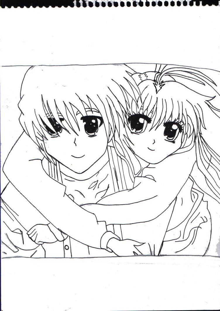 752x1061 Anime Couple Hug Outlined By X Xanimenerdx X