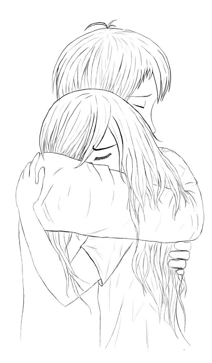 684x1168 Anime Couple Hugging Drawing