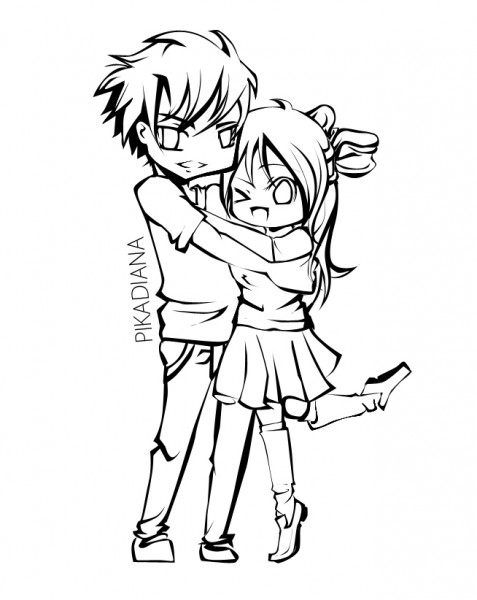 477x600 Cute Anime Couple Hugging Coloring Cat Pages Couples Kissing