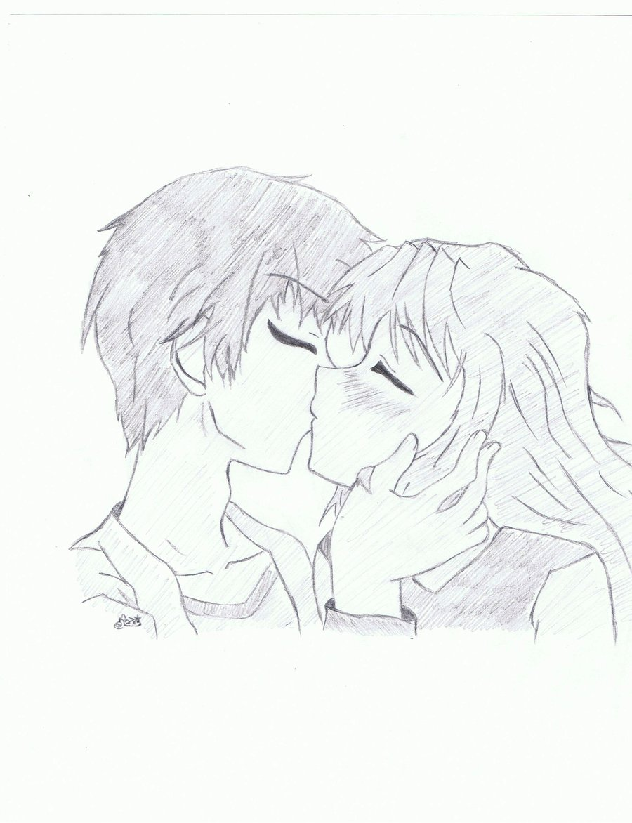 900x1172 Anime Couple Kissing By Robrozin