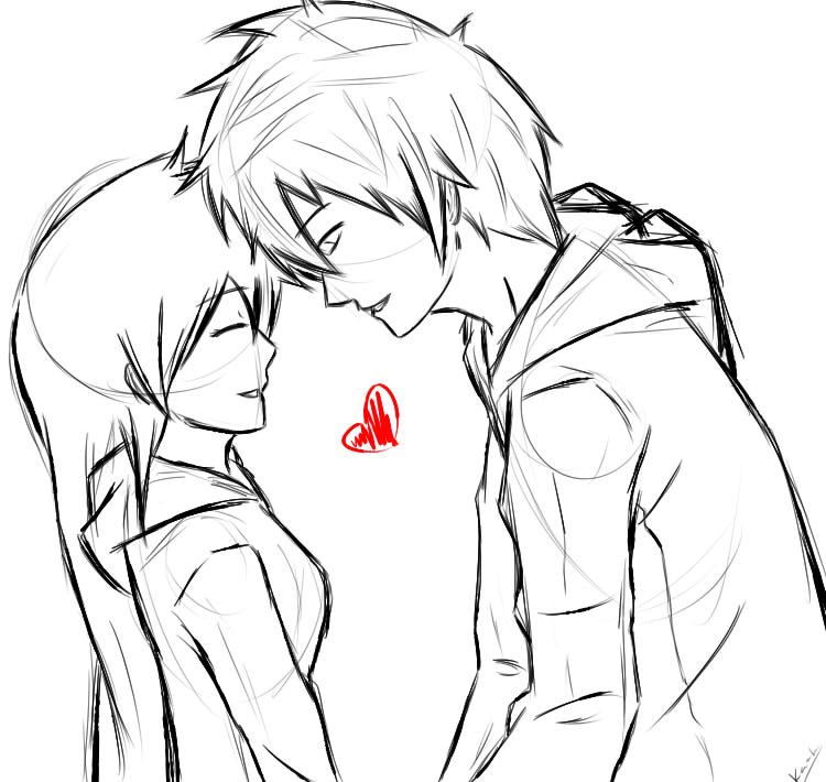 750x710 cute anime couple sketches couple sketch by kaahtak anime