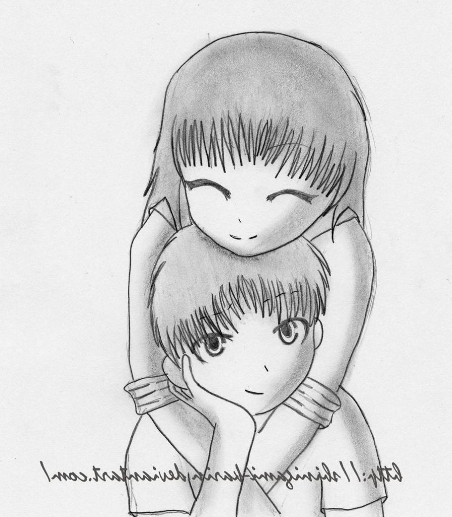 Love Anime hug drawing rare photo