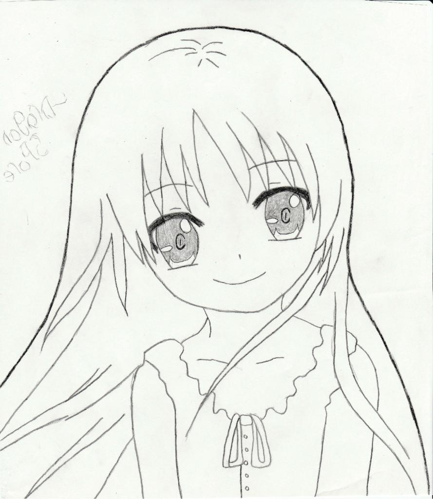 889x1024 Cute Anime Girl Drawing