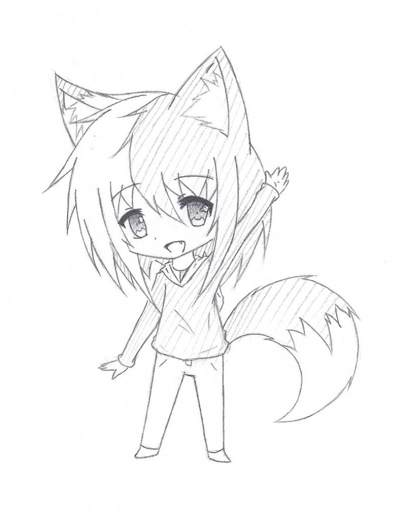 803x1024 Cute Anime Girl Sketch Chibi