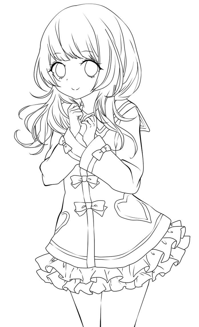 697x1146 Cute Anime Girl Lineart By Chifuyu San On Anime