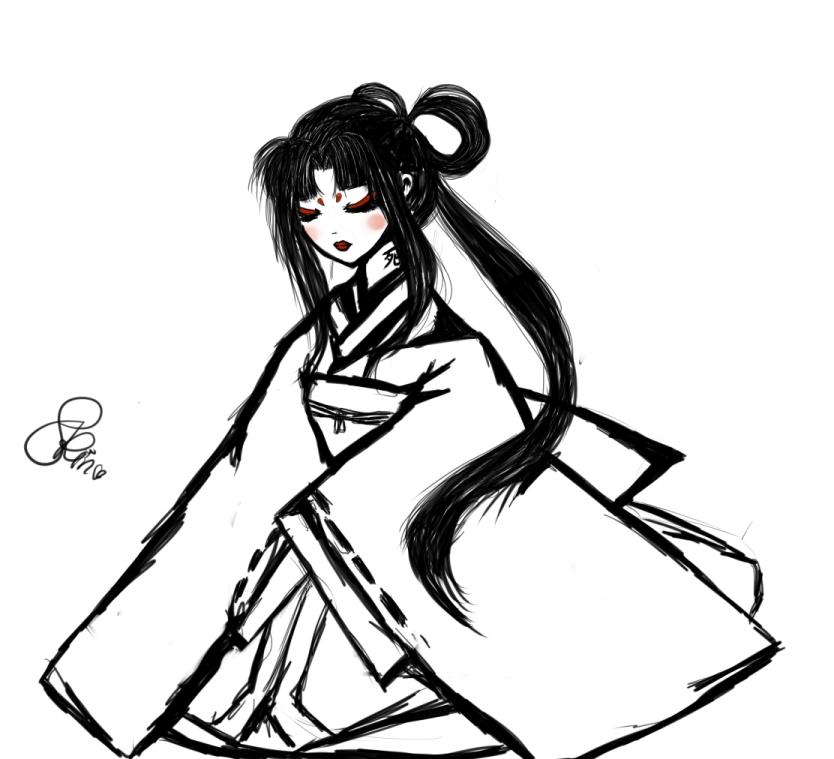 834x759 Japanese Doll Sketch By Iamprincessrin