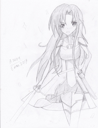 320x417 Asuna Full body drawing Challenge! ^^