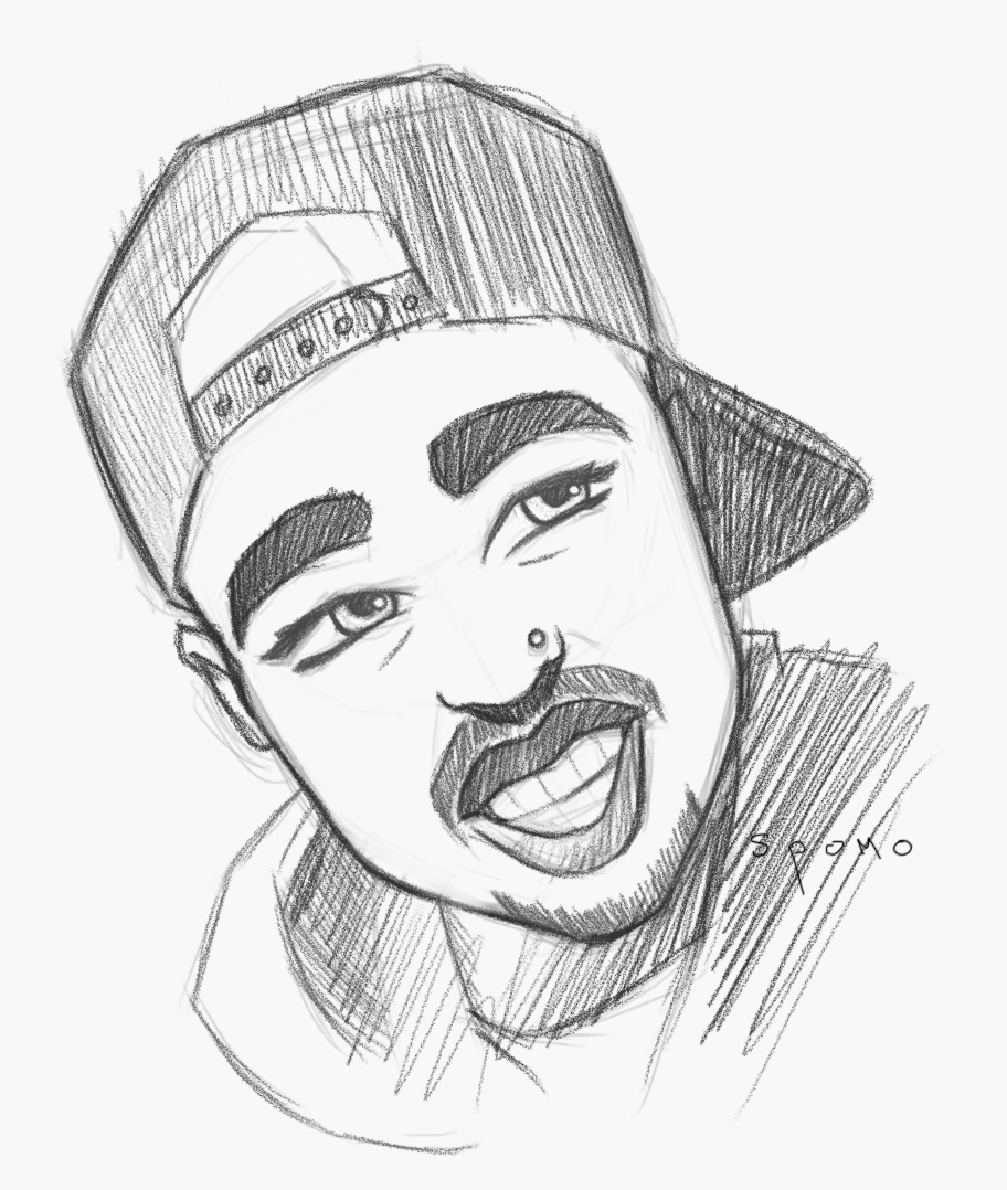 912x1078 2pac Cartoon Sketch (Or Anime, I Don'T Know) Photoimage By