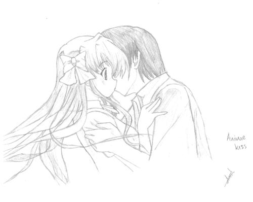 500x398 Drawn Kiss Anime Draw