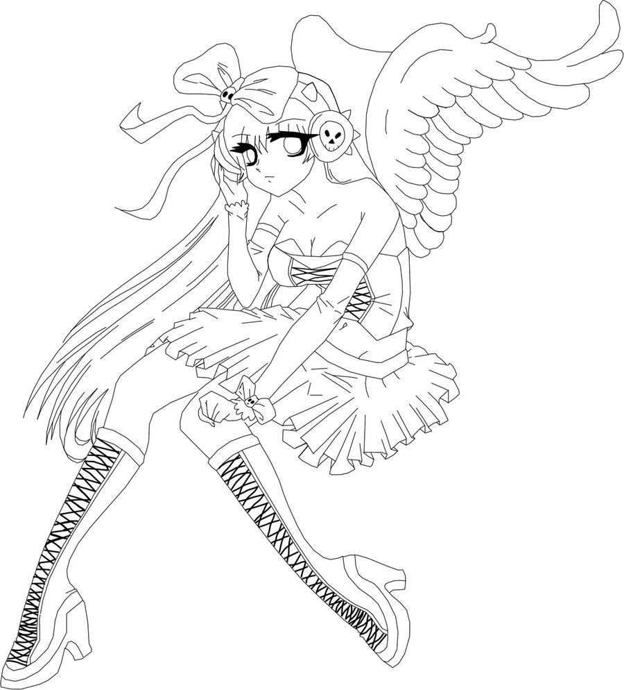 900x994 An Gothic Angel Girl Outline By Khbirthbysleep890