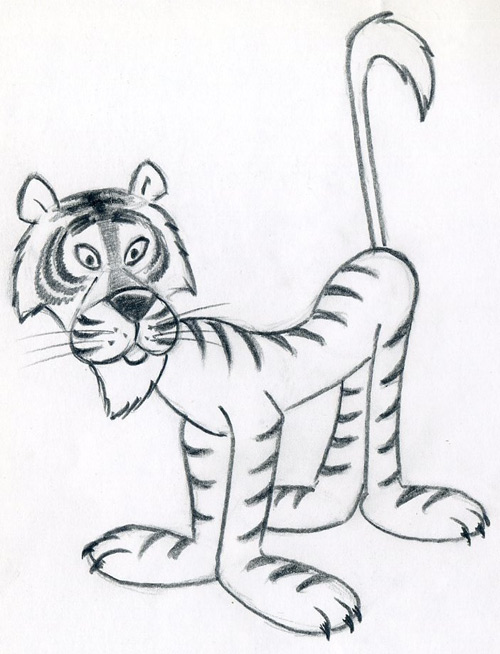 500x654 How To Draw Cartoon Tiger In Few Easy Steps.
