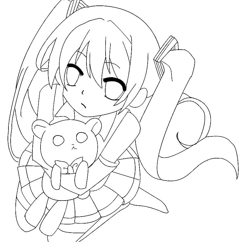 800x800 Miku With Teddy Outline By Kazumicuppycake