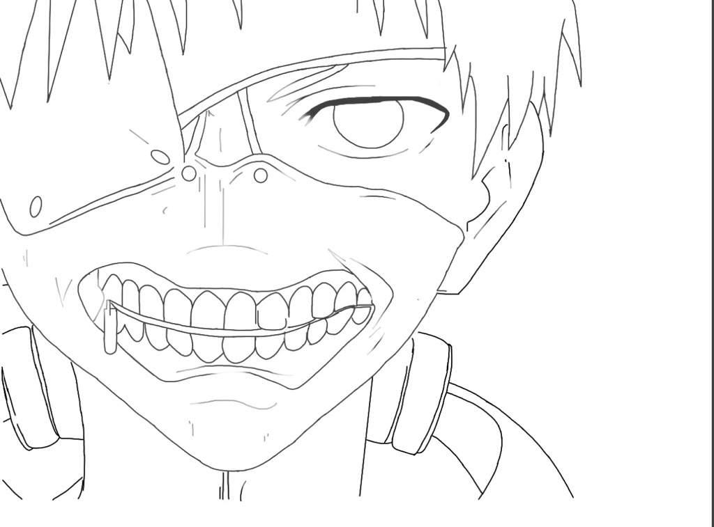 1024x757 tokyo ghoul kaneki outline anime amino