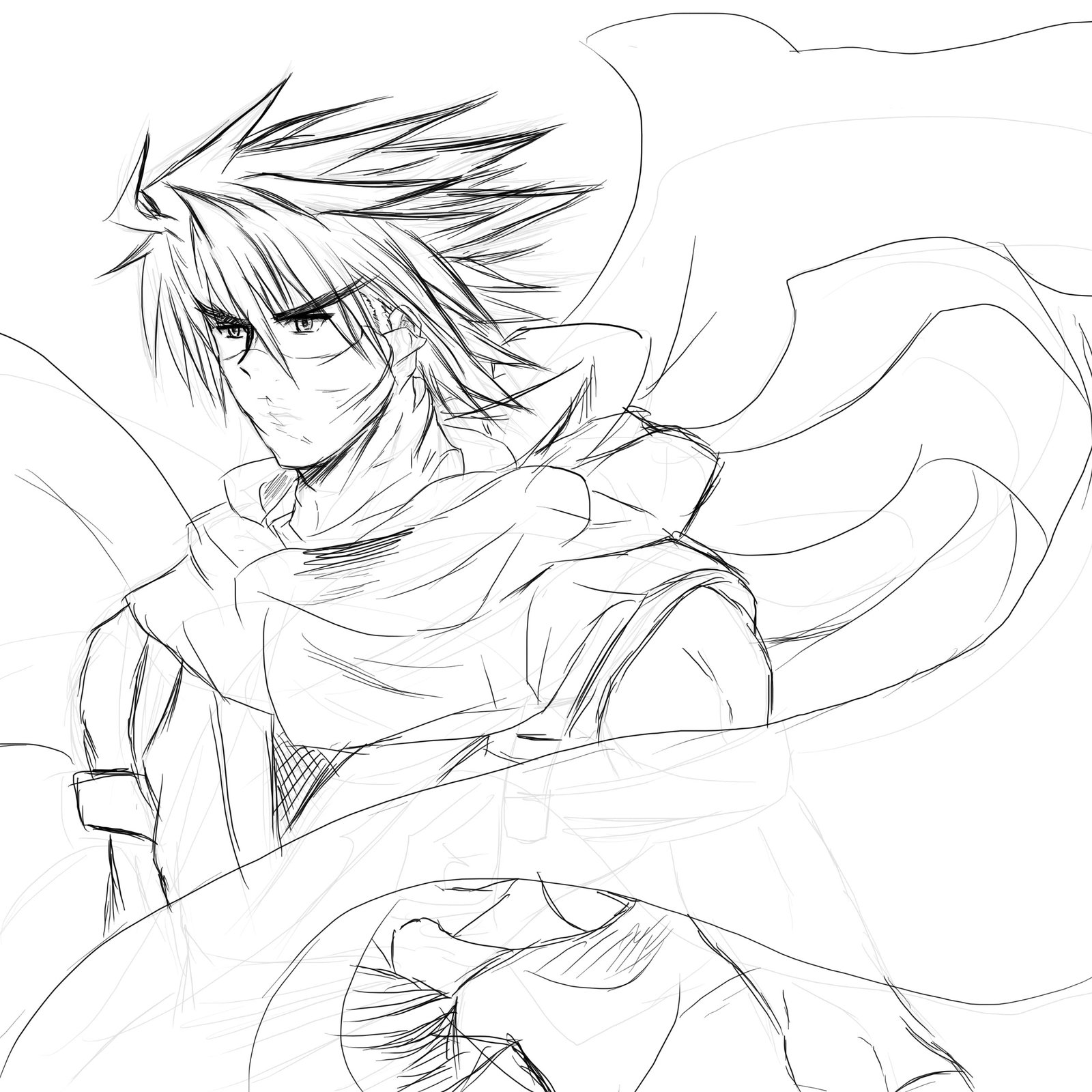 1600x1600 Strider Hiryu Photoshop Sketch Work Without Color By Penzoom