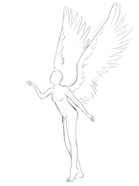 450x600 Winged Poses Creating An Anime Styled Angel Vector Illustration