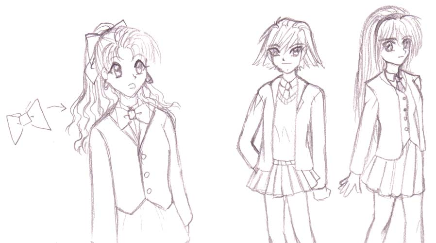 898x500 Sketch Examples Of Female Blazers For School Uniforms, From Manga
