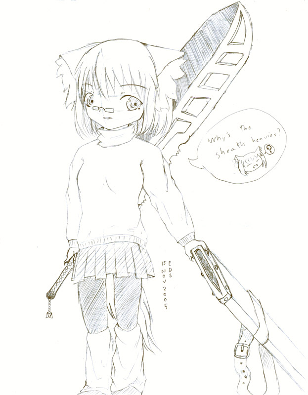 623x800 Girl Wolf Ears And Tails Sword By Lykoi