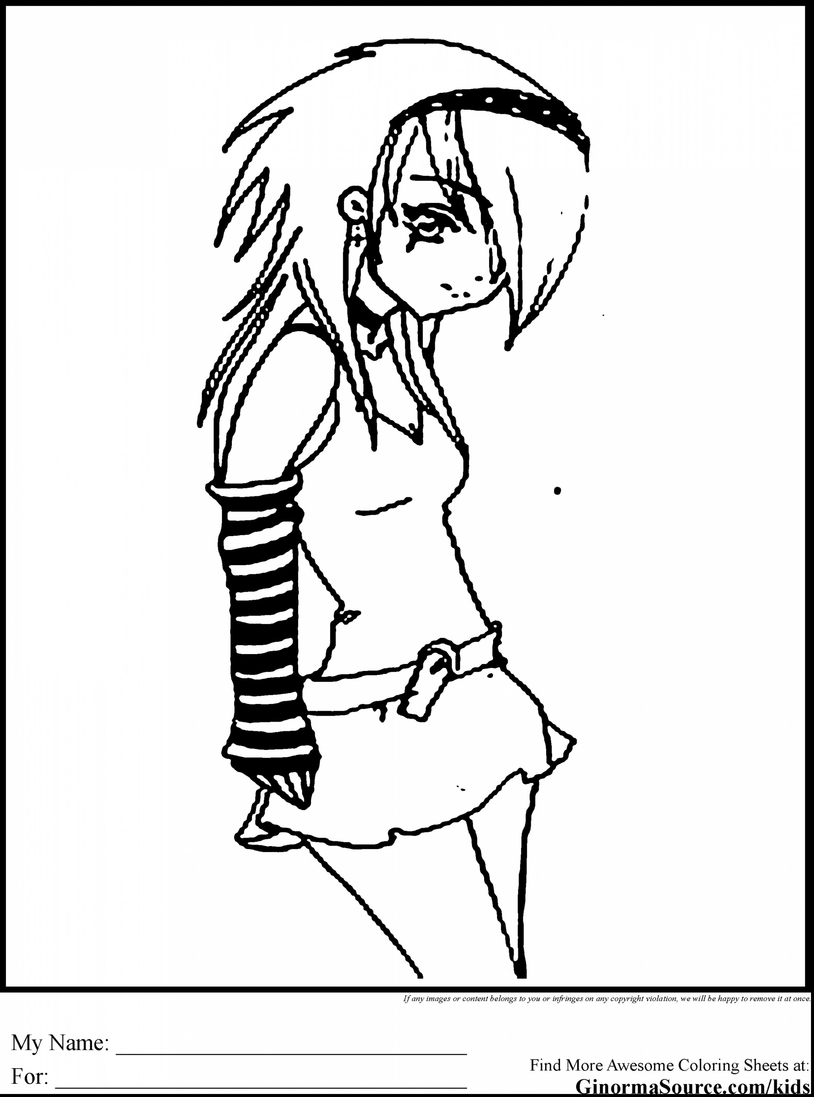2704x3641 Emo Girl Coloring Pages