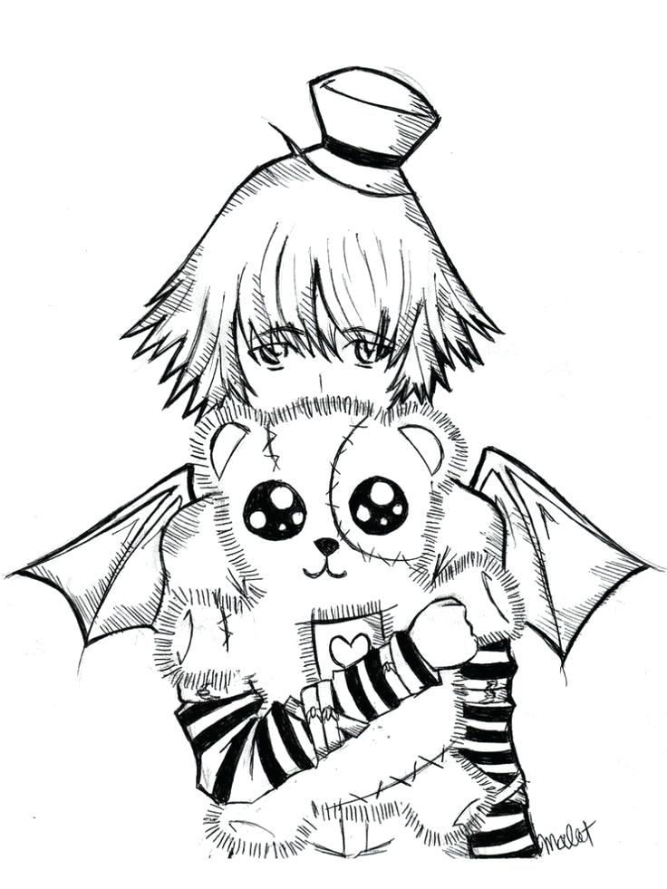 736x981 Emo Girl Coloring Pages Emo Teddy Bear Coloring Page Emo Anime