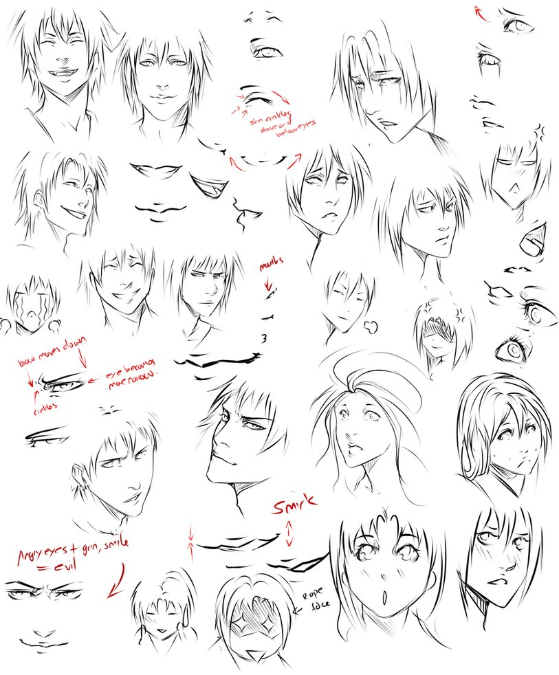813x982 Anime Face Expression Drawing