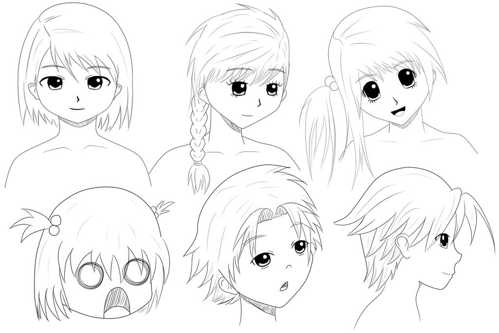 1024x683 Anime Face Practise By The Doodle Ator