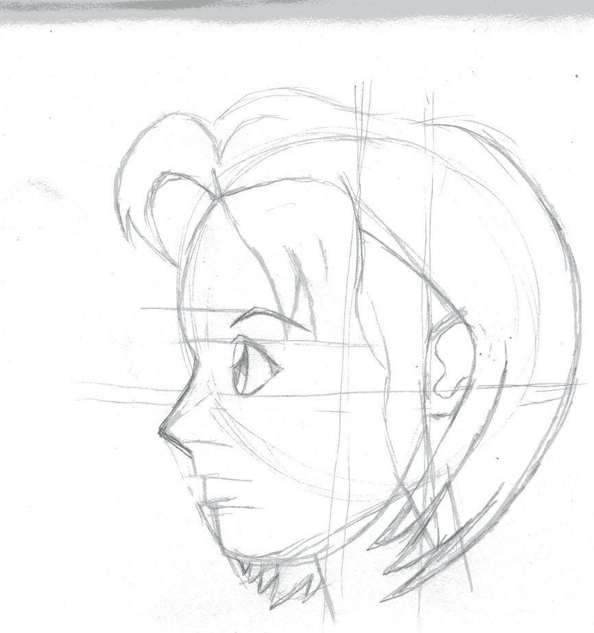 866x922 Rough Sketch Anime Face Profile By Kingofturves