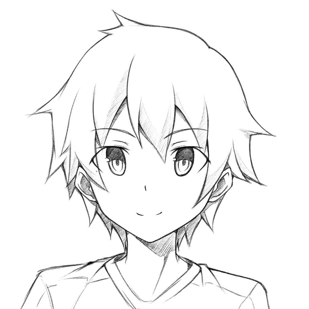 1024x1024 Anime Male Face Drawing