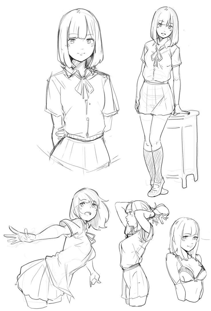 736x1085 Anime Female Drawing Best Manga Poses Ideas