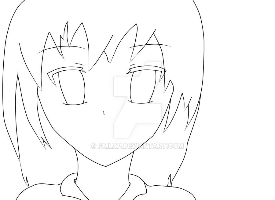900x654 Anime Female Drawing Lineart By Failxp