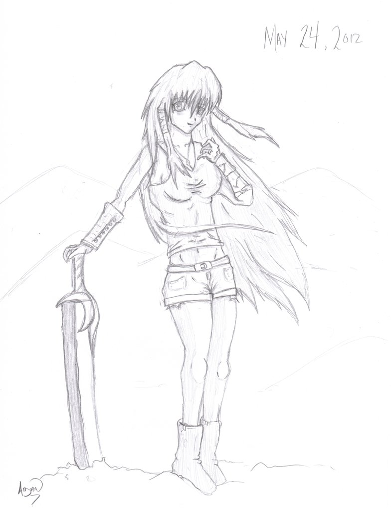 786x1017 Anime Female Warrior By X Infamous